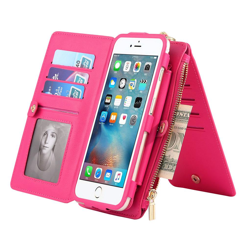 ALLOET Retro plånbok för iPhone 7 6 6s 7 Plus Korthållare - Reservdelar och tillbehör för mobiltelefoner