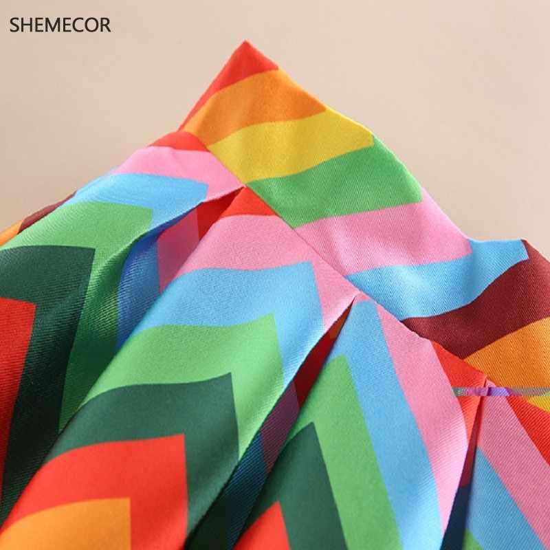 SHEMECOR 2019 осень новые женские Хепберн винтажные Ретро Цветные радужные полосатые Геометрические печати высокая талия плиссированная юбка Feminina