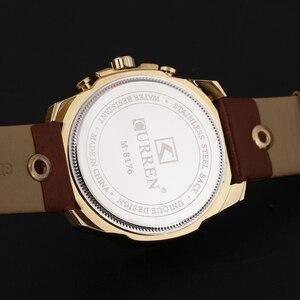 Image 5 - CURREN גברים של למעלה מותג יוקרה קוורץ שעונים גברים של ספורט קוורץ שעון צבאי זכר שעון אופנה זהב שעון 8176 זרוק משלוח
