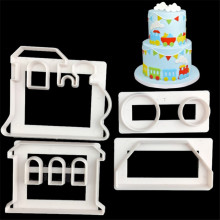 4 Pcs/Set Food Grade Plastic Train DIY Printing Cake Cookie Cutter Mold Fondant Cutter Mould Baking Cake Decorating Tools high grade plastic cutter
