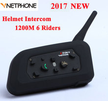 Vnetphone V6 1200 Mt Motorrad Bluetooth Helm Intercom Vollduplex für 6 fahrer BT Drahtlose motocicleta Interphone Headsets