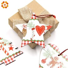 3PCS/Lot Vintage Printed Heart&Star&Tree Wooden Pendants Ornaments DIY Christmas Party Decorations Tree Hanging Gifts