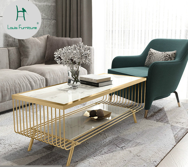 US $380.9 |Louis Fashion Coffee Tables Nordic Wind Living Room Marble Tea  Iron Art Rectangle-in Coffee Tables from Furniture on Aliexpress.com | ...