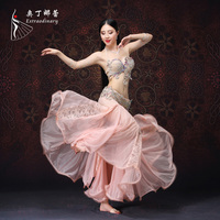 New Professional Performance Belly Dancing Beaded Costumes Designed With Push Up Bra Oriental Dance Costumes