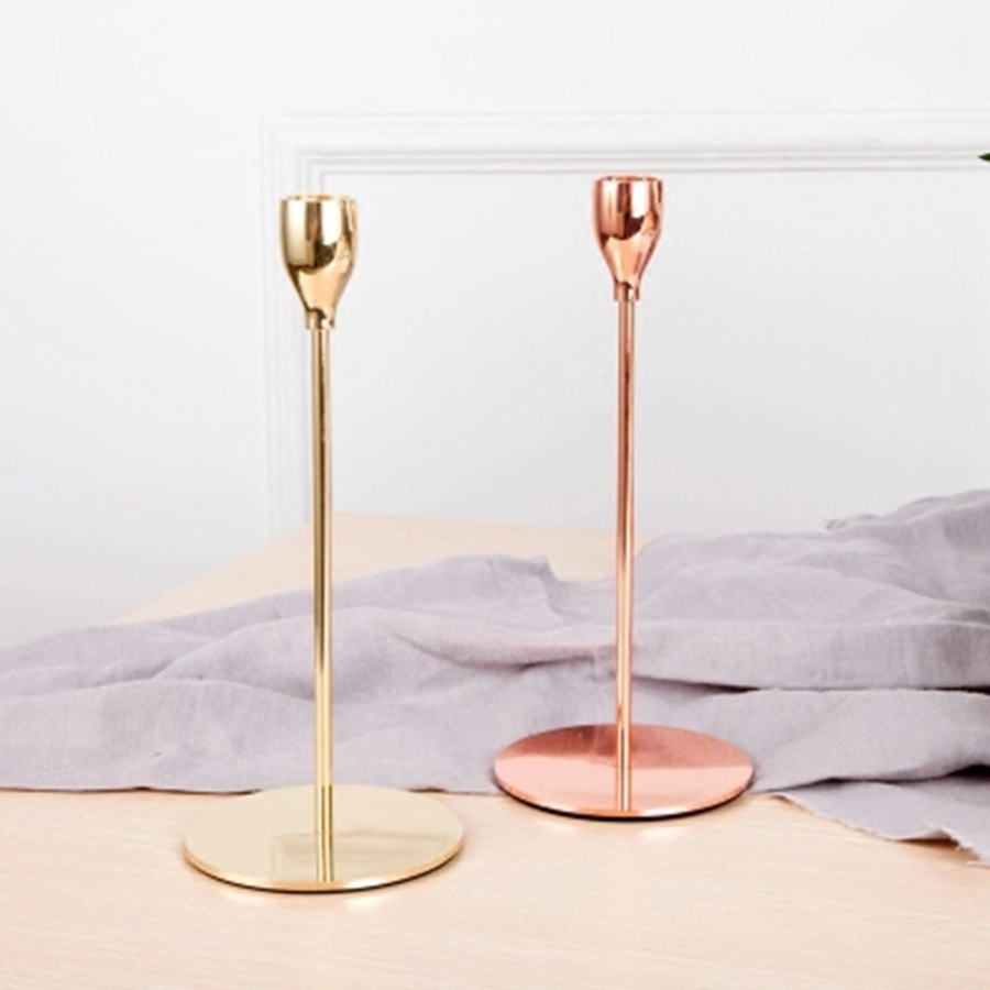 Rose Gold Candle Holder Wedding Centerpieces Tables Center Pieces Candlesticks Gold Nordic Decoration Home Moroccan Photophore