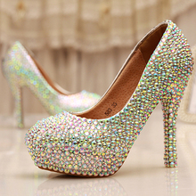 Cinderella Crystal Shoes Nightclub High Heel Platform Shoes Bridal Wedding Shoes AB Crystal Glitter Rhinestone Party Prom Shoes