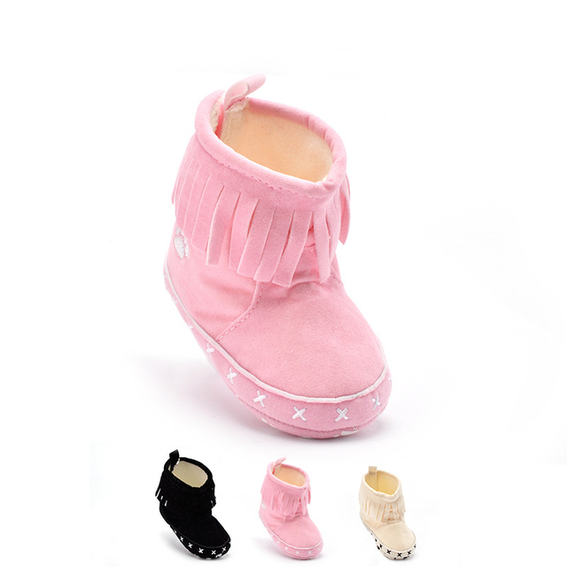 Hots Sale 3 Colors Offer Anti-slip Fashion Tassel Decor Cotton Soft Soled Newborn Baby Princess Girls Lovely Boots First Walker