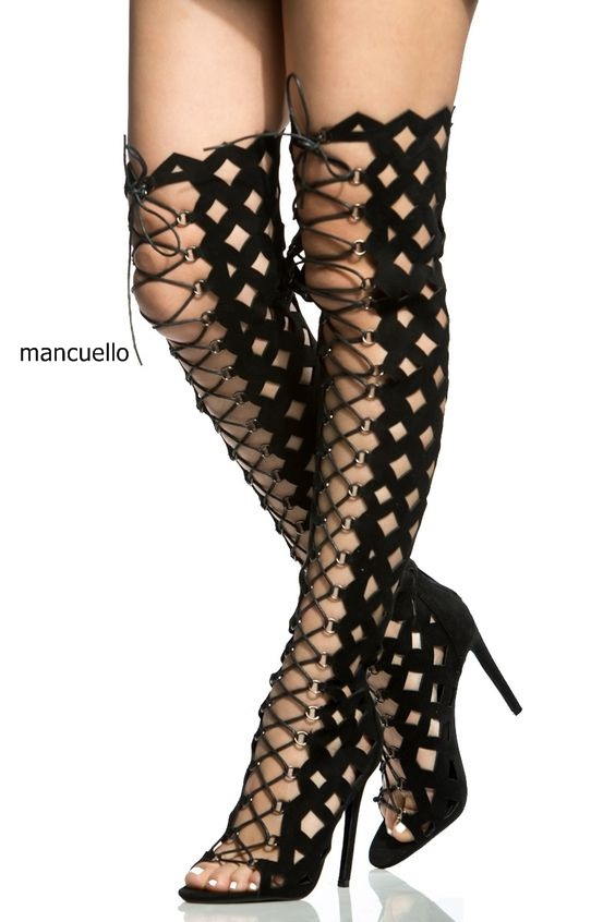 Women Sexy Black Suede Geometric Pattern Cut Out Stiletto Heel Over the Keen High Boots Peep Toe Front Lace Up Metal Rings Boots