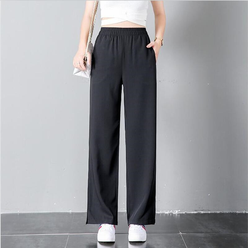 2018 Women Casual Straight Pants Black Chiffon High -1805
