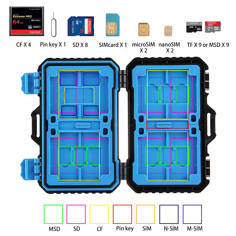 Black 27 Cards Room Waterproof CF/TF/SD/SIM Card Box Holder Memory Card Storage Case 11.5*7*2.05CM