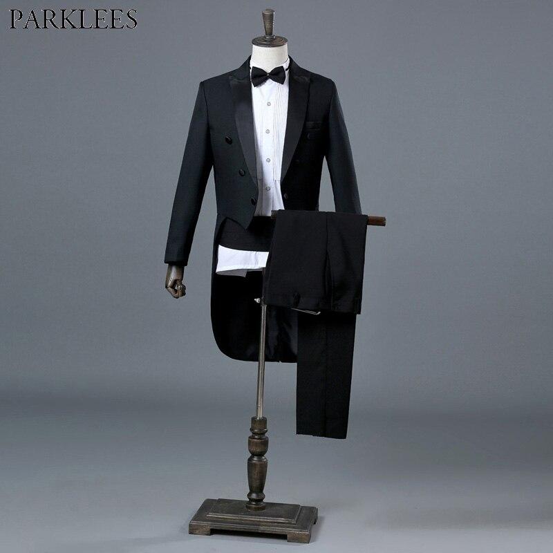 Hommes noir élégant mariage marié smoking Costumes Slim Fit 4 pièce (veste + pantalon + Blet + cravate) costume hommes chef magicien spectacle Costumes