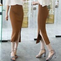 High quality Summer new style Female Slim package hip skirts Medium long ice silk high waist split step skirt wild thin section