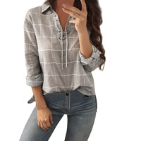 Chemisier Femme Hollow Out Tops 2018 Autumn Linen Shirt Lace Up Long Sleeve Blouse Gray Woman