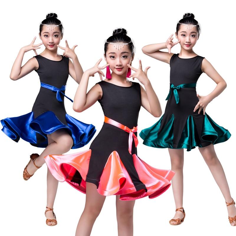latin dance dress for girls Samba Costume Clothes Rumba Ballroom Dancing Dresses For Kids spandex skirt Salsa Tango children