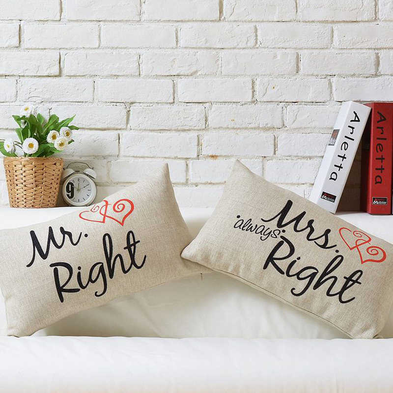 Cuscini Mr Right Mrs Always Right.Mr Right Mrs Always Right Accesorries Couple Cushion Covers 30