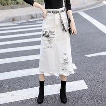Kadın ön delik kot etek 2020 yeni moda İlkbahar yaz uzun etek yüksek bel rahat beyaz kot etek artı boyutu 5XL