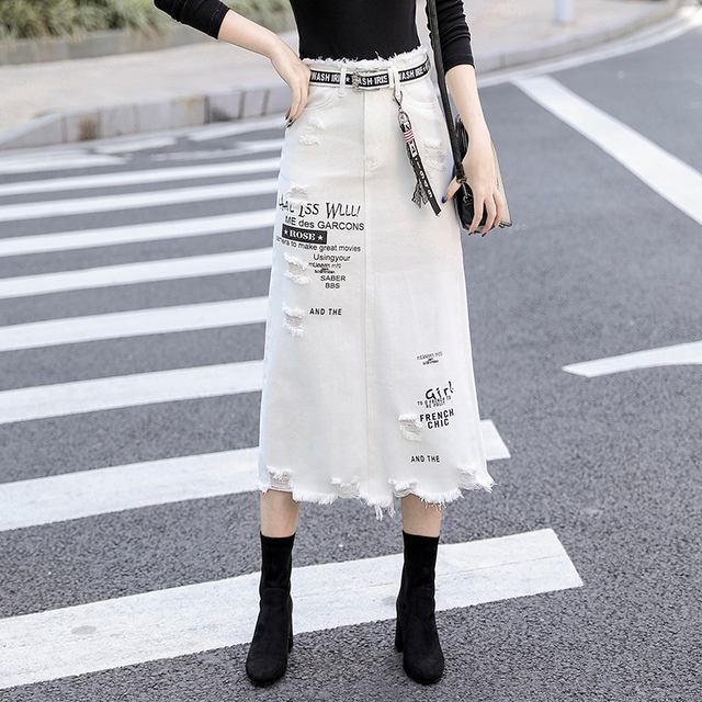 Kobiety z przodu z dziurami, dżinsowe spódnica 2020 nowa moda wiosna letnie, długie spódnice wysokiej talii na co dzień białe dżinsy spódnica Plus rozmiar 5XL