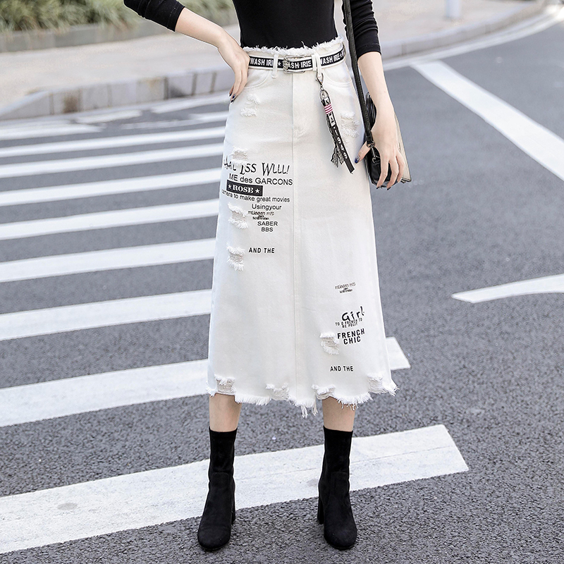 Women Front Hole Denim Skirt 2020 New Fashion Spring Summer Long Skirts High Waist Casual White Jeans Skirt Plus Size 5XL(China)