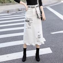 Women Front Hole Denim Skirt 2020 New Fashion Spring Summer Long Skirts High Waist Casual White Jeans Skirt Plus Size 5XL