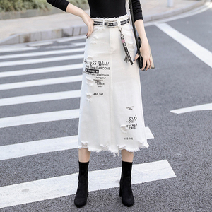 Image 1 - Women Front Hole Denim Skirt 2020 New Fashion Spring Summer Long Skirts High Waist Casual White Jeans Skirt Plus Size 5XL