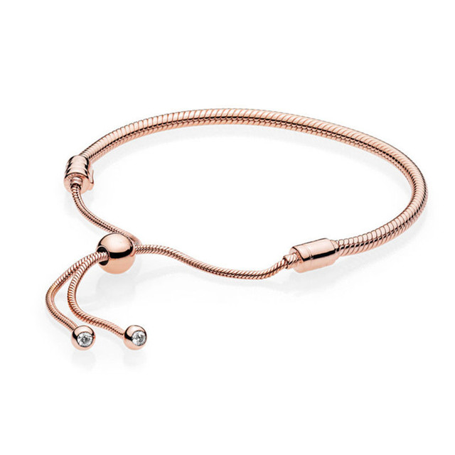 925 Sterling Silver Bead Charm Snake Chain Fit Original Branded Rose Moments Sliding Bracelet For Women