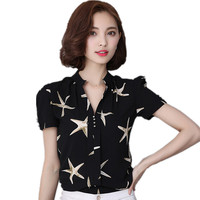 New Summer Style Women Shirts Blouses Fashion Printed Casual Chiffon Shirt Large Size Blouse V Neck