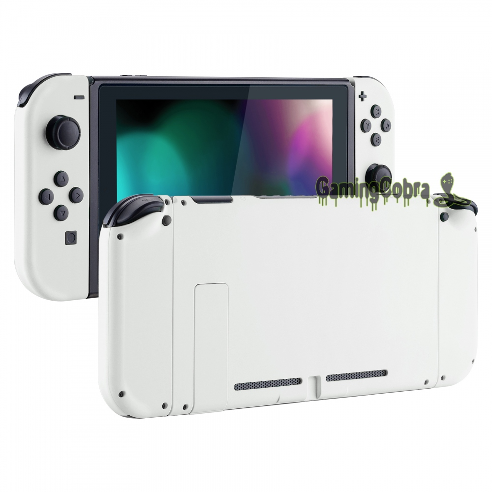 Soft Touch Grip White Back Plate W/ Controller Housing Shell W/ Full Set Buttons For Nintendo Switch Handheld Console & Joy-Con