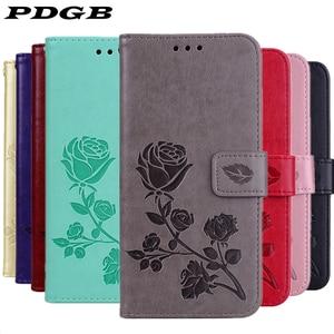 PDGB Wallet Leather Case for Xiaomi Mi A1 A2 Lite 5X F1 Redmi 4X 4A 5A 6A 5 Plus S2 Note 6 Pro Flip Cover 3D Embossed Flower