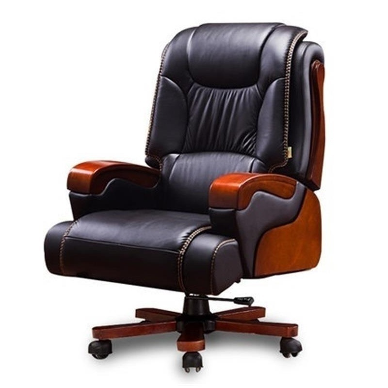 Boss home seat European wood swivel office leather computer chair boss chair real leather computer chair home massage can lie in the leather chair solid wood armrest office chair 06