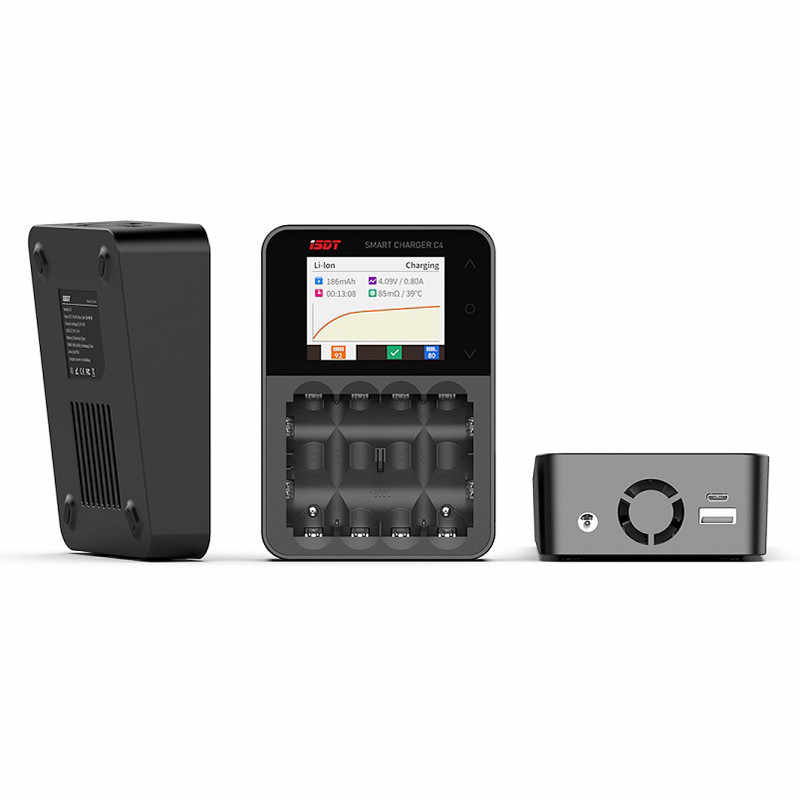 الأصلي ISDT C4 8A اللمس شاشة شاحن بطاريات ذكي مع USB الناتج عن 18650 26650 AA بطارية