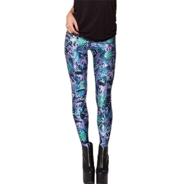 DOUBLA Womens Elastic Waist Galaxy Digital 3D Printed Leggings 2017 Ladys Leopard Cat Cate Pizza Strech Sportswear Plus Size 3XL