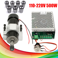 500W Air Cooled CNC Spindle Milling Motor With Spindle Speed Power Converter + 7Pcs ER11 Precision Spring Chuck Collet Set