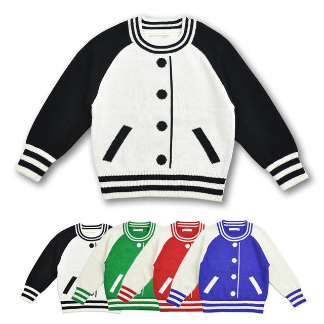 2016 Primavera Outono Casaco Fashion de Beisebol de Lã de Malha Blusas de Manga Longa Crianças Camisola Meninas Adolescentes Roupas Meninos Jaqueta