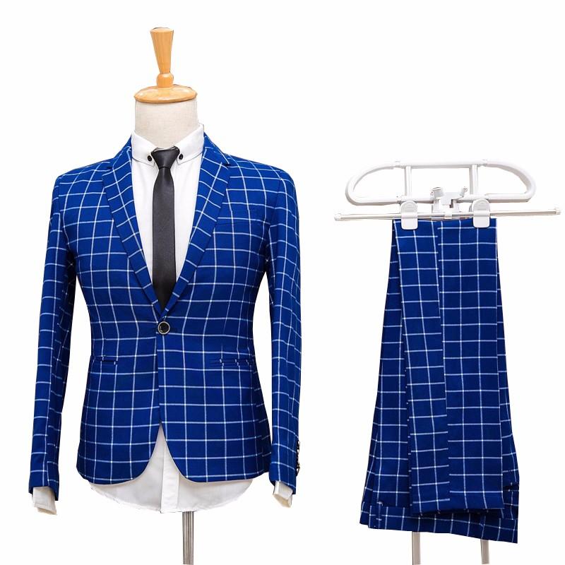 2-Picese-Suit-Jackets-Pants-2016-Fashion-Man-Suit-Slim-Blue-Plaid-One-Single-Button-Weeding