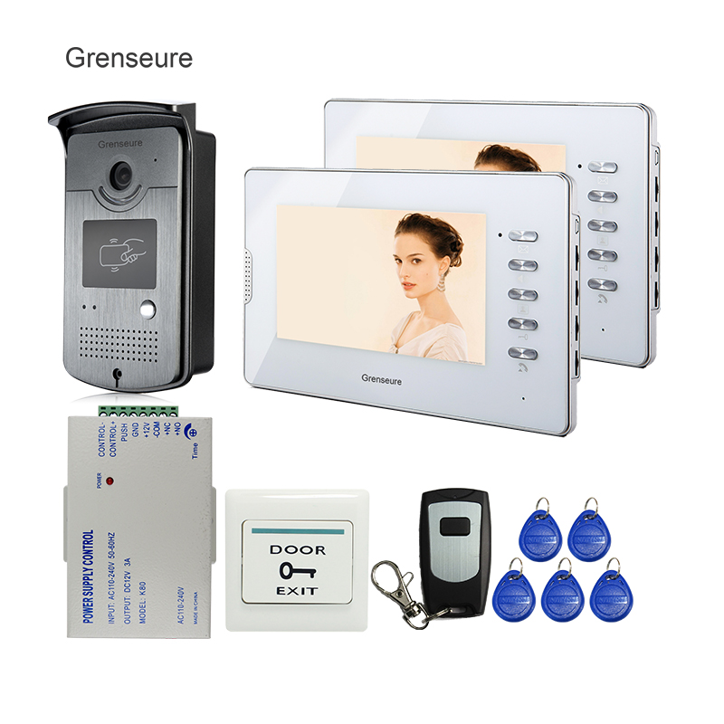 FREE SHIPPING NEW 7 inch Video Intercom Door Phone System 2 White Monitors + 1 700TVL RFID Access Camera Remote Control In Stock jeruan home 7 inch lcd screen video door phone intercom system 1 monitor 700tvl rfid access camera remote control in stock