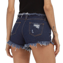 New Jeans plus size women's raw shorts dark blue raw ripped denim shortses