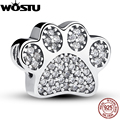 Hot Selling Real 925 Sterling Silver Paw Prints Charm Fit Original Pandora Bracelet Bangle Authentic Jewelry Gift