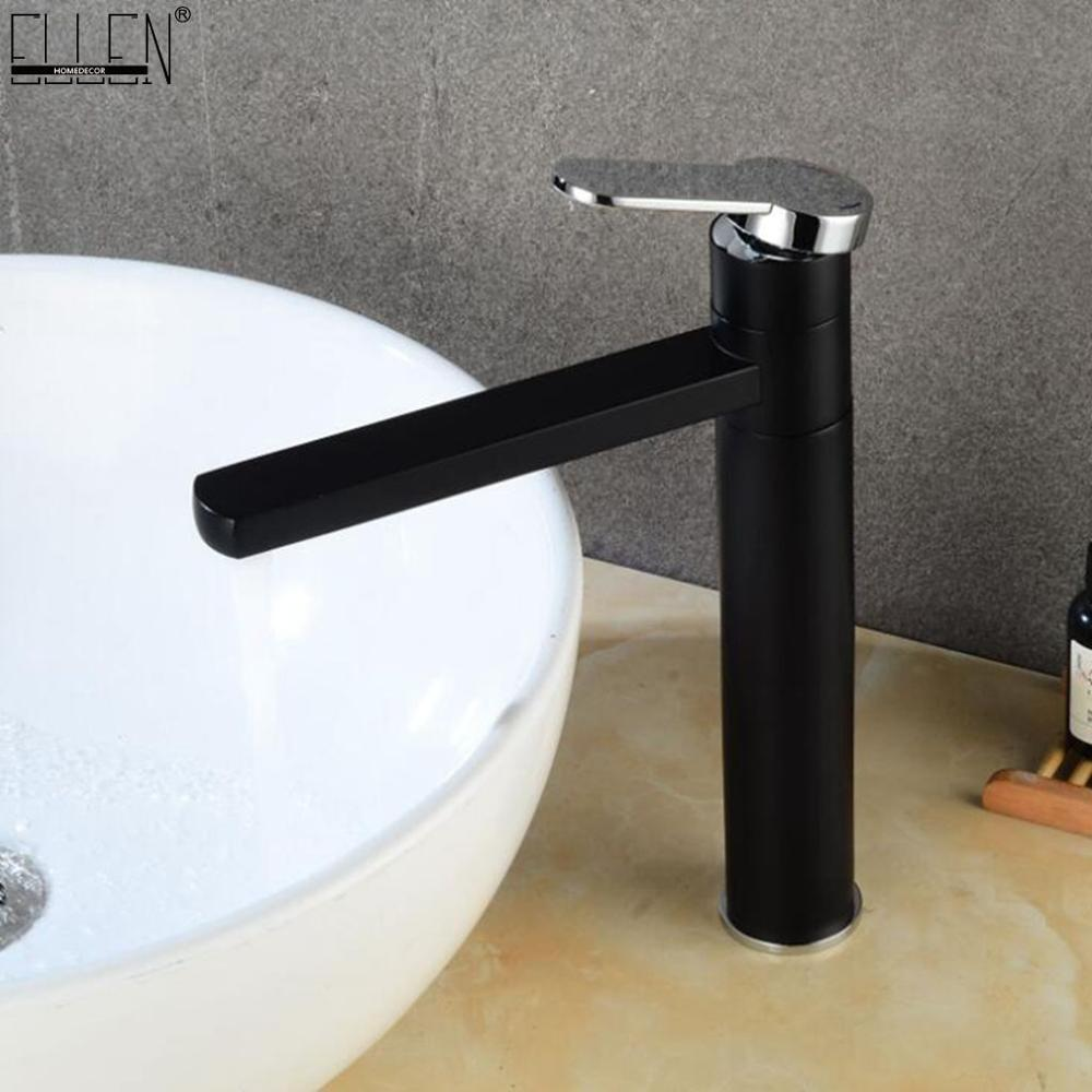 Hot Cold Mixer Tall Faucets Black Bathroom Basin Sink Tap Deck Mounted Vessel Sink Faucet Mixer