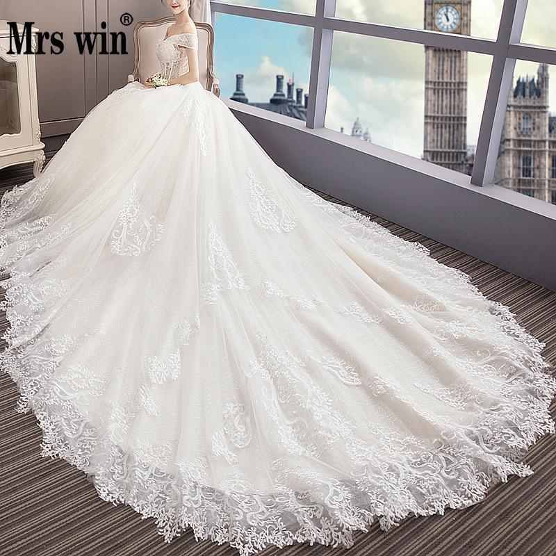 See Through Wedding Gown: Luxury Long Train Wedding Dress 2019 Off Shoulder Princess