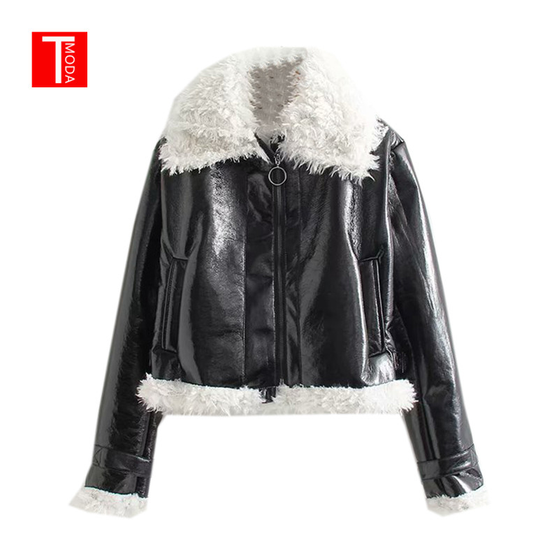 2018 Winter Black Motorcycle Zipper Design Faux Fake Fur   Leather   Jacket Coat with Collar Lambswool Women Outerwear Warm Clothes