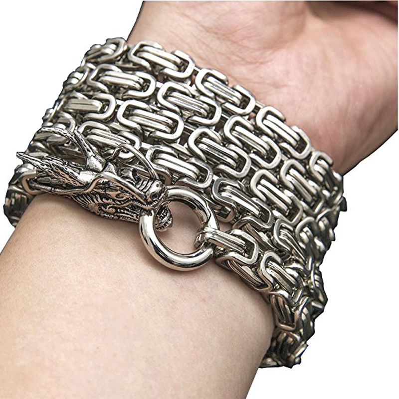 101cm Outdoor Stainless Steel Self Defense Protection Dragon Hand Bracelet Chain Tactical Metallic Whip Corrosion Resistance