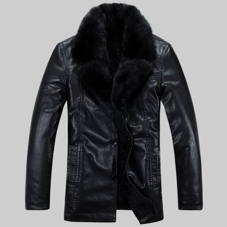 Free shipping 2017 Men's Winter Brand Fur outerwear long design genuine leather casual clothing leather overcoat jacket /M-5XL