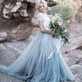 2017 Custom Made Piso Macio Saias de Tule Para O vestido de Noiva Para Casamento comprimento da Saia Tutu Para As Mulheres Zipper Estilo Céu Azul Maxi Saia