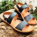 [KRUSDAN]Top Genuine Cow Leather Sandals Man Fashion Summer Shoes Quality Rubber Sole Beach Flip Flops Man Retror Size 38-43
