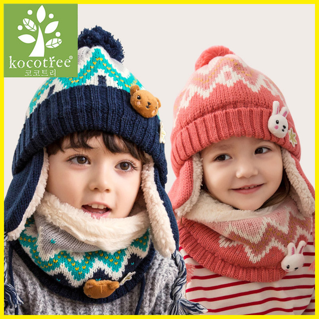 2018 Kocotree 2pcs lot Children Winter Hat And Scarf For 3 Years Old to 6 c2062179c0c