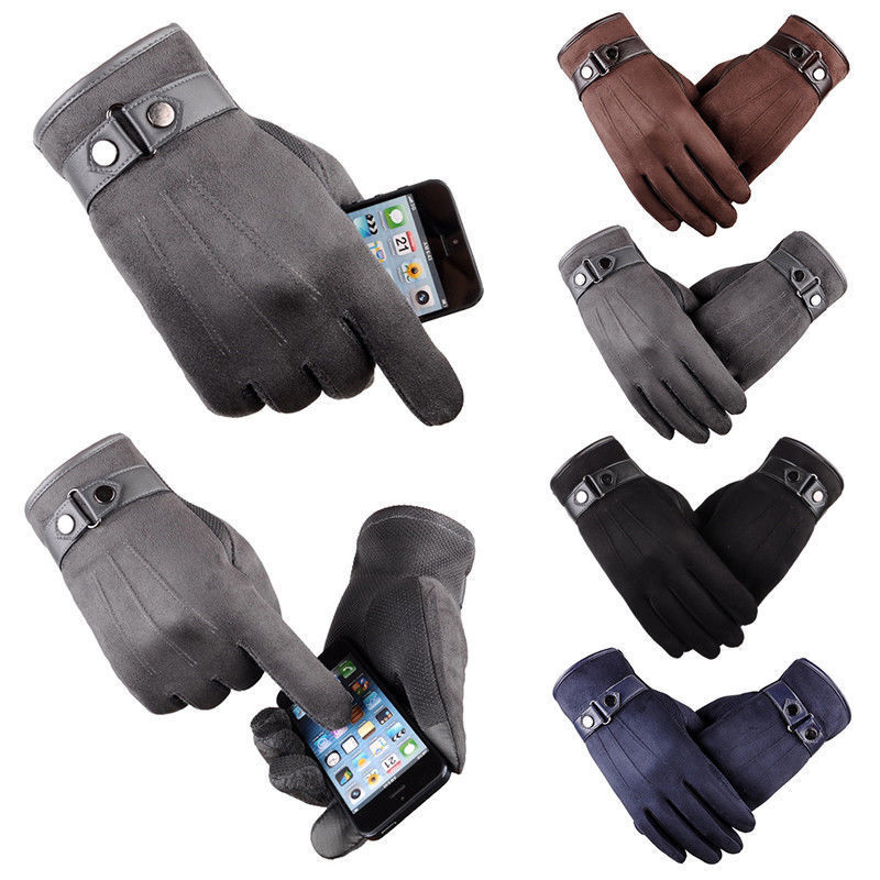 PU leather Men Winter Touchscreen Gloves Thick Cotton Suede Windproof Motorcycle Warm Fleece Lined Gloves H9