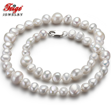 Feige Special offer Baroque 7-8/10-11MM White Freshwater Pearl Choker Necklace for Women Trendy style Fine Jewelry Bijoux