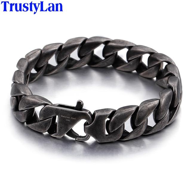 Trustylan Vintage Black Stainless Steel Men Bracelet 15mm Wide S Chain Bracelets Bangles Armband Jewelry