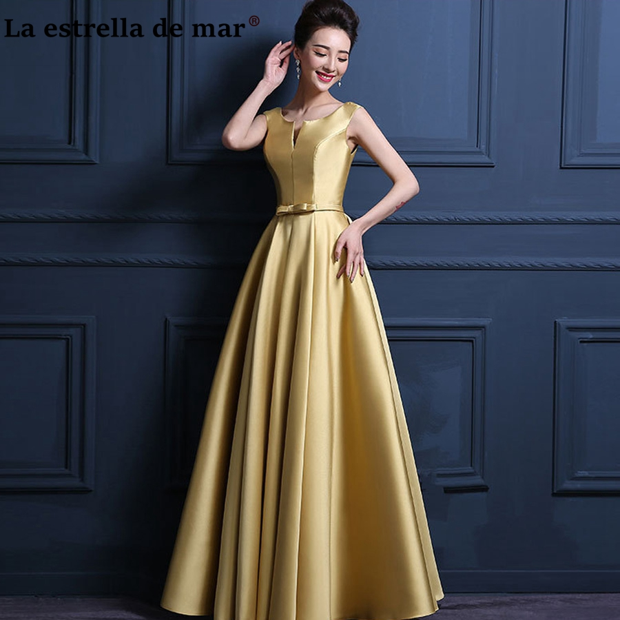 La estrella de mar vestido madrinha 2019 satin sexy V neck A Line burgundy gold purple   bridesmaid     dress   long cheap wedding guest
