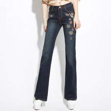 Spring and Autumn High waist Elasticity Self-cultivation Was thin Micro la Embroidery jeans